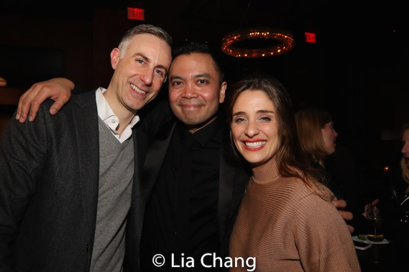 Newlyweds Erik Rose and Jose Llana with his KING AND I leading lady Elena Shaddow. Photo by Lia Chang