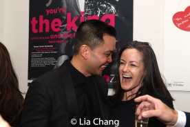 Champagne toast backstage with Jose Llana and Music Director Kimberly Grigsby. Photo by Lia Chang