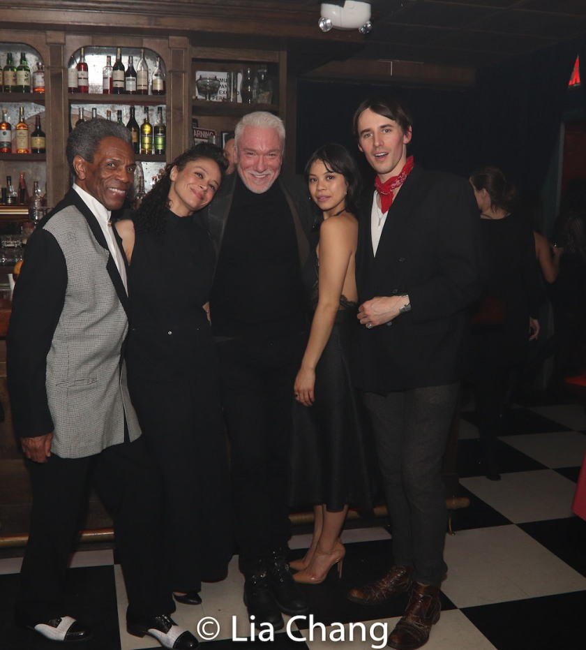 André De Shields, Amber Gray, Patrick Page, Eva Noblezada and Reeve Carney. Photo by Lia Chang