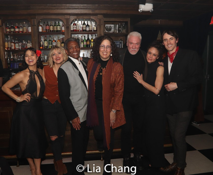 Eva Noblezada, Anais Mitchell, André De Shields, Mara Isaacs, Patrick Page, Amber Gray and Reeve Carney. Photo by Lia Chang