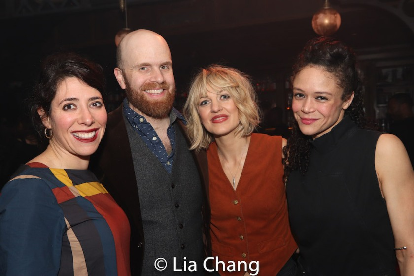 HADESTOWN Director Rachel Chavkin, Music Director and Vocal Arranger Liam Robinson, Creator Anaïs Mitchell and Amber Gray. Photo by Lia Chang