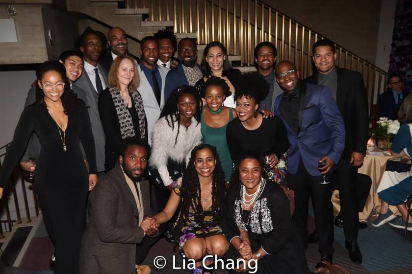 1st Row: A guest, Suzan-Lori Parks and Lynn Nottage. 2rd Row: Crystal A. Dickinson, Jo Bonney, Zainab Jah, Mirirai Sithole, Gillian Glasco. 3rd Row: Reynaldo Piniella, Julian Rozzell, Jr., David Ryan Smith, Donovan Mitchell, J. Cameron Barnett, Russell G. Jones, Amelia Workman, Amari Cheatom, Alfonso Johnson, Brandon J. Dirden. Photo by Lia Chang