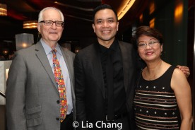 Ian Newport, Jose Llana and his mother Regina Tolentino Newport. Photo by Lia Chang