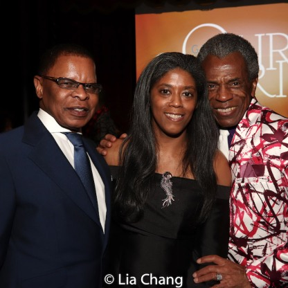 Broadway producers Stephen C. Byrd and Alia Jones-Harvey with André De Shields. Photo by Lia Chang
