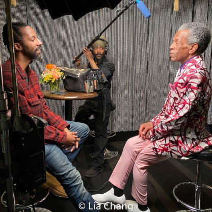"""André De Shields being interviewed for the documentary, """"The Holy Ground"""". Photo by Lia Chang"""