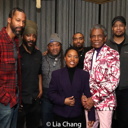 """Producer Clarielle Marsh (center), André De Shields and the crew of """"The Holy Ground"""" documentary. Photo by Lia Chang"""